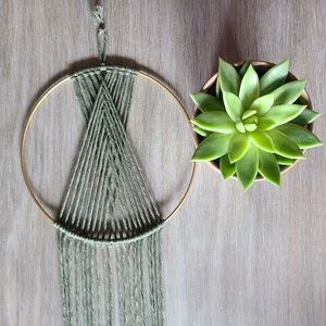 Olive Macrame Geometric Wall Decor Hanging Hoop